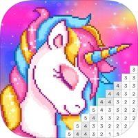 Pixel Unicorn Color By Number By Dailyinnovation Co Limited I 2020 Malarbocker Kladdkonst Pixel Konst