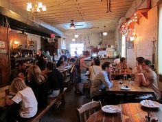brooklyn restaurants best | ... patrons sit inside and eat at Roberta's Pizza restaurant in Brooklyn