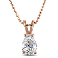 Shop for Miadora Signature Collection 14k Rose Gold 3/4ct TDW Pear-cut Diamond Solitaire Necklace (G-H, I1-I2). Get free delivery at Overstock.com - Your Online Jewelry Shop! Get 5% in rewards with Club O!