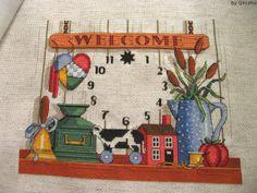 Welcome Clock Designer / Dimensions (Lewis Johnson) Stitch Count / 140W * 120H Fabric / 16ct Aida Zweigart - Oatmeal Thread / DMC
