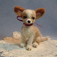 Custom needle felted dog art Chihuahua
