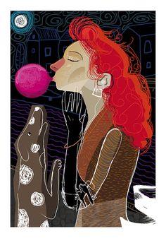 Chica paseando Ilustración de Pablo Gallardo