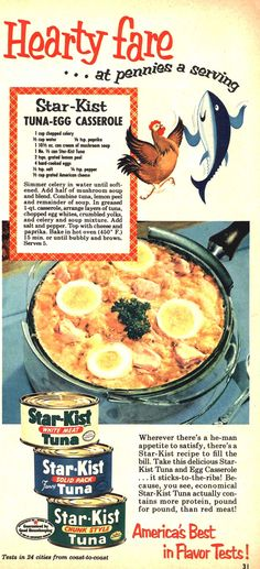 Star-Kist Tuna Egg Casserole, with a chicken and a tuna dancing in praise of this stick-to-your-ribs he-man dish.