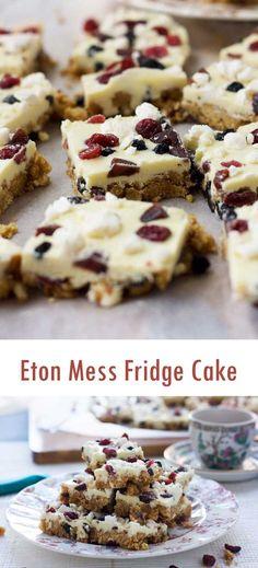 Eton Mess Fridge cake - with all the flavours of a British Eton Mess! Summer Desserts, No Bake Desserts, Delicious Desserts, Dessert Recipes, Yummy Food, Bar Recipes, Baking Tins, Baking Recipes, Gastronomia
