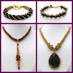 Free instructions for some lovely gold seed bead kumihimo designs incorporating genuine gemstones by Pru McRae