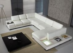Canapé angle en cuir vachette blanc AREZZO