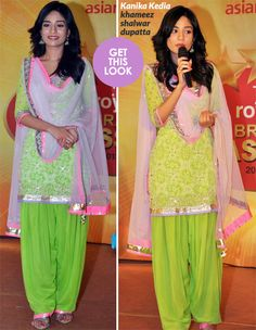 Pretty actress Amrita Rao wears a brightly coloured ethnic ensemble by Kanika Kedia for an event in Guwahati. Patiala Dress, Patiala Salwar Suits, Anarkali Dress, Punjabi Suits, Shalwar Kameez, Churidar, Trendy Suits, Trendy Dresses, Ethnic Fashion