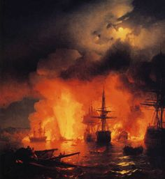 Battle of Çesme at Night, 1848. At I. K. Aivazovsky Museum, Theodosia.  Artists' website (Russian): http://www.art-drawing.ru/g...