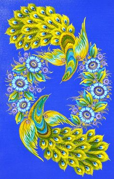 Love this design but mostly love the Colors!Petrykivka art , Ukraine, from Iryna Russian Folk Art, Ukrainian Art, Tole Painting, Fabric Painting, Polish Folk Art, Russian Painting, Painting Process, Naive Art, Easy Paintings