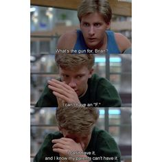 Emilio Estevez as Andrew Clark and Anthony Michael Hall as Brian Johnson in The Breakfast Club 80s Movies, Iconic Movies, Classic Movies, Great Movies, Movie Tv, Cinema Movies, Breakfast Club Quotes, The Breakfast Club, Cartoon Quotes