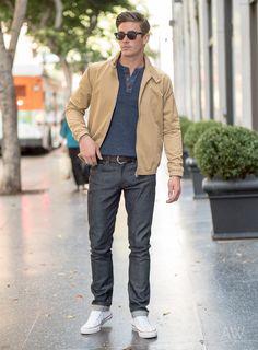 Stone Harrington Jacket, Navy Henley Sweater, Dark Brown Casual Belt, Dark Wash Jeans, White Sneakers