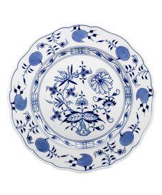 """Speiseteller, Form """"Neuer Ausschnitt"""", Zwiebelmuster, kobaltblau, weißer Rand, ø 28 cm"""