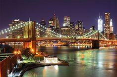 Brooklyn Bridge wallpaper - New York City Skyline with Brooklyn Bridge in light by night - XXL wallpaper wall decoration 82.7 Inch x 55 Inch Great Art http://smile.amazon.com/dp/B00LGMGLJA/ref=cm_sw_r_pi_dp_wC9hwb0QXMZHN