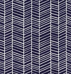 LAST YARD LEFT! Sophisticated herringbone pattern with fresh navy blue and white lines. Joel Dewberry for Free Spirit fabrics. Fabric is a
