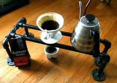 Creative DIY pour-over coffee stand! There really are a million things you can make with plumbing pipe!