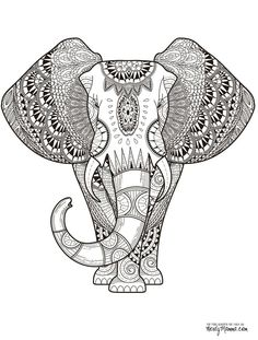 Elephant Abstract Doodle Zentangle Paisley Coloring pages colouring adult detailed advanced printable Kleuren voor volwassenen coloriage pour adulte anti-stress kleurplaat voor volwassenen Line Art Black and White