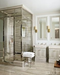 Bathroom idea...replace long vanity with two separate sinks & mirrors & this shower would look great in my bathroom