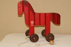 Vintage German wooden horse pull toy by Breitschwerdt