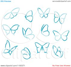 Simple Drawings Of Butterflies Clipart of simple blue