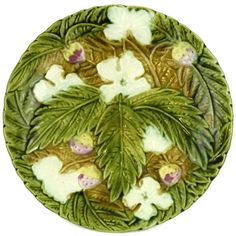 French Antique Majolica Strawberry Plate. Rustic Kitchen Green... ($77) ❤ liked on Polyvore featuring home and kitchen & dining
