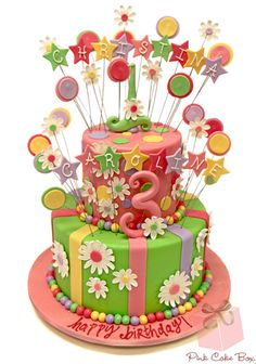 A dual birthday cake we created for Christina & Caroline :) Happy birthday girls!