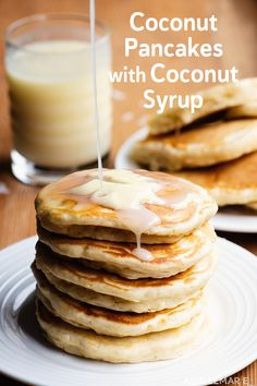 Pancakes are a staple - easy to make and delicious fresh or toasted the next day! We make these coconut pancakes once a week and they are made even better with this amazing and easy homemade coconut syrup! Coconut Pancakes, Homemade Pancakes, Pancakes And Waffles, Homemade Buttermilk, Buttermilk Pancakes, Real Food Recipes, Cooking Recipes, Coconut Syrup, Coconut Flour
