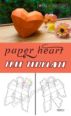Free paper heart template, a paper heart . - DIY paper Source by fifivon 3d Paper Crafts, Paper Toys, Diy Paper, Diy And Crafts, 3d Templates, Applique Templates, Applique Patterns, Heart Template, Crown Template