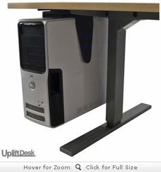 If you have a computer tower and a height-adjustable desk, you're either monopolizing desktop space by putting the computer on top, or leaving it on the floor, straining and damaging the computer's wires. With the UPLIFT CPU holder, you can mount the computer tower to the underside of the desktop and avoid either issue!