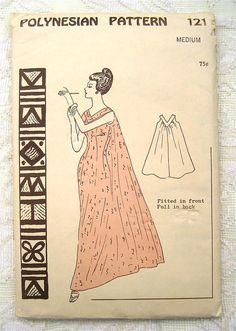 Vintage 50s Muumuu Evening Dress Polynesian Sewing Pattern 121. Size M