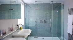 Modern Double Shower with Pale Blue Tiles