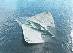 jacques rougerie's floating research center influenced by manta rays