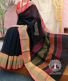 Elegant Woven Kanchi Cotton Saree Saree Blouse, Sari, Sarees For Girls, Black Saree, Cotton Saree, Indian Wear, Color Combinations, Plaid Scarf, Pure Products