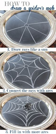 Learn the super simple way to draw a spider web! Halloween Chalkboard via Unskinny Boppy Halloween Images, Halloween Spider, Creepy Halloween, Holidays Halloween, Halloween Crafts, Halloween Decorations, Easy Halloween Drawings, Halloween Ideas, Halloween Office