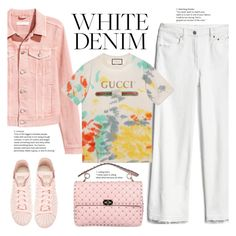 """""""White denim combination"""" by gul07 ❤ liked on Polyvore featuring H&M, Valentino, Gap, Gucci and adidas"""
