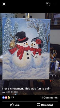 Christmas Paintings On Canvas, Christmas Canvas, Christmas Art, Painting Snow, Winter Painting, Diy Painting, Acrylic Painting For Beginners, Christmas Drawing, Painting Lessons