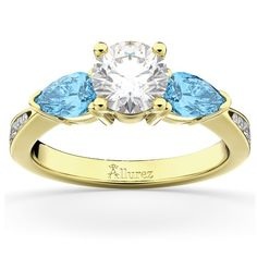 Diamond & Pear Aquamarine Engagement Ring 18k Yellow Gold (0.79ct), Women's, Size: 9.5