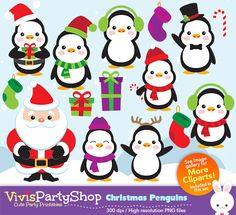 CHRISTMAS Penguins Clipart, Printable, Instant download, PNG files, christmas clipart, C#002 by VivisPartyShop on Etsy https://www.etsy.com/uk/listing/252336231/christmas-penguins-clipart-printable