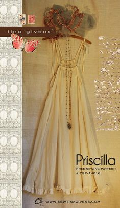 Free Sewing pattern by Tina Givens. Priscilla Slip is simple and beautiful. Diy Clothing, Sewing Clothes, Clothing Patterns, Dress Patterns, Easy Dress Pattern, Free Sewing, Vintage Sewing Patterns, Look Fashion, Diy Fashion