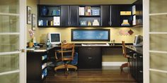 Home Office for two   California Closets  black cabinets and drawers