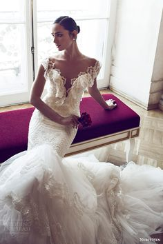 nurit hen 2016 bridal flutter sleeves split sweetheart neckline mermaid lace wedding dress (06) romantic zv