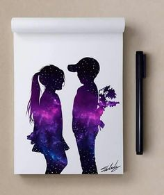Obras inspiradoras com as magníficas cores da galáxia: Muhammad Sala . Galaxy Painting, Galaxy Art, Beautiful Drawings, Cute Drawings, Art Manga, Oil Pastel Drawings, Spray Paint Art, Wow Art, Silhouette Art