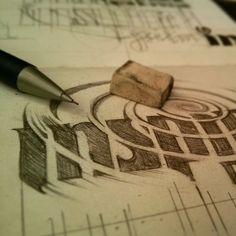 «#inspiral #logo #pencil #sketch #progress»