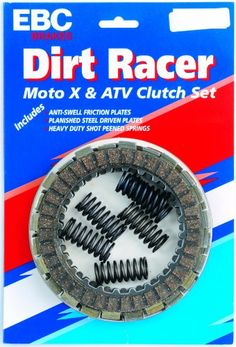 EBC Brakes DRC87 Dirt Racer Clutch Made using high pressure die cast aluminum platforms with bonded brake linings. All shoes are radius ground and edge trimmed. Features lead in and lead out chamfers at lining ends. Original equipment style brake shoe springs included.  #EBC_Brakes #Automotive_Parts_and_Accessories