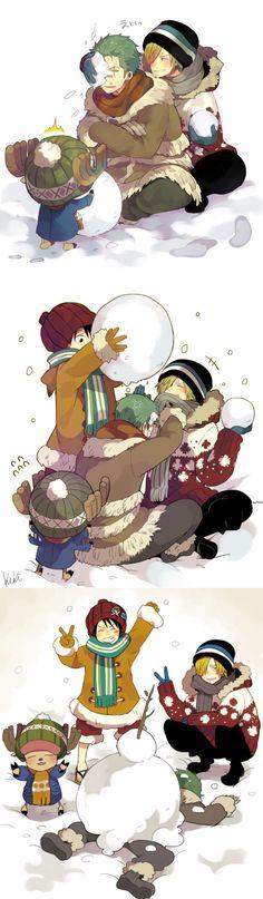 L'équipage de Luffy qui fait un bonhomme de neige (pauvre Zoro :-))