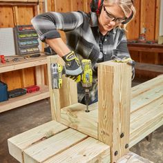 How to Make Simple Timber Bench — The Family Handyman Woodworking Furniture Plans, Woodworking Projects That Sell, Popular Woodworking, Teds Woodworking, Timber Furniture, Deck Furniture, Rustic Outdoor Benches, Wood Benches, Landscape Timbers