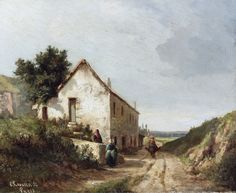 Camille Pissarro - The house by the road of campagne with figures [1856] | par petrus.agricola
