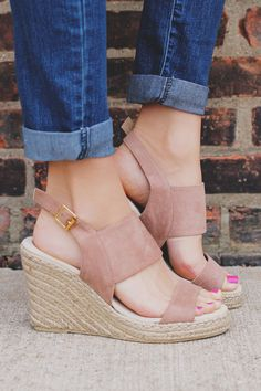 Hot Taupe Adjustable Buckle Two Strap Wedge Knox-01