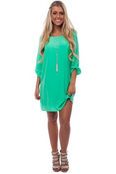 Lime Lush Boutique - Mint Tab Sleeve Shift Dress, $52.99 (http://www.limelush.com/mint-tab-sleeve-shift-dress/)