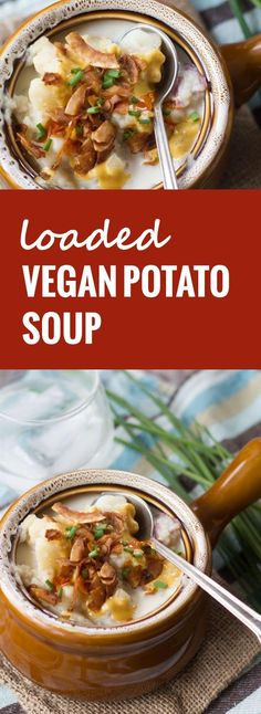 This vegan potato soup is fully loaded with flavor and toppings, in the form of fresh chives, zesty tahini cheese, and crunchy coconut bacon.