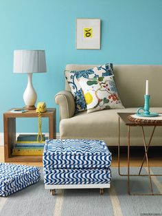Stacking floor cushions= convertible ottoman. Genius!